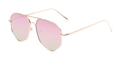 Angle of Kendall #63072 in Gold Frame with Pink Mirrored Lenses, Women's and Men's Aviator Sunglasses