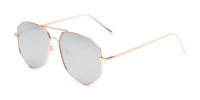 Angle of Kendall #63072 in Gold Frame with Silver Mirrored Lenses, Women's and Men's Aviator Sunglasses