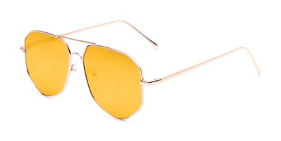 Angle of Kendall #63072 in Gold Frame with Yellow Mirrored Lenses, Women's and Men's Aviator Sunglasses