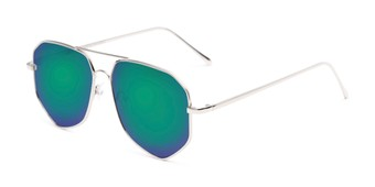 Angle of Kendall #63072 in Silver Frame with Green/Purple Mirrored Lenses, Women's and Men's Aviator Sunglasses