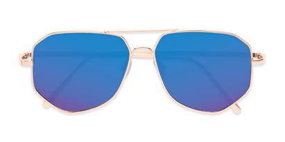 Folded of Kendall #63072 in Gold Frame with Blue Mirrored Lenses
