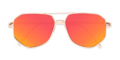 Folded of Kendall #63072 in Gold Frame with Orange Mirrored Lenses