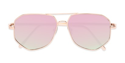 Folded of Kendall #63072 in Gold Frame with Pink Mirrored Lenses