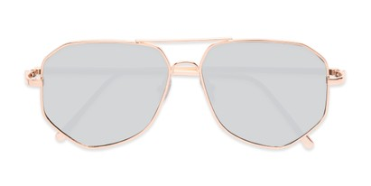 Folded of Kendall #63072 in Gold Frame with Silver Mirrored Lenses