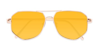 Folded of Kendall #63072 in Gold Frame with Yellow Mirrored Lenses