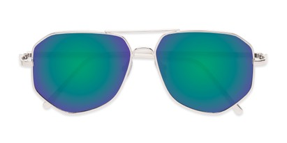 Folded of Kendall #63072 in Silver Frame with Green/Purple Mirrored Lenses