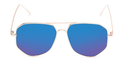 Front of Kendall #63072 in Gold Frame with Blue Mirrored Lenses
