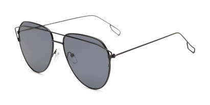Angle of Kennedy #7024 in Black Frame with Grey Lenses, Women's Aviator Sunglasses