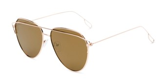 Angle of Kennedy #7024 in Gold Frame with Gold Mirrored Lenses, Women's Aviator Sunglasses