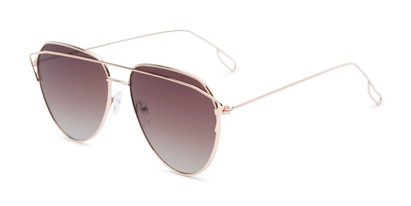 Angle of Kennedy #7024 in Gold Frame with Amber Lenses, Women's Aviator Sunglasses