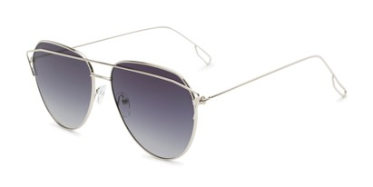 Angle of Kennedy #7024 in Silver Frame with Smoke Lenses, Women's Aviator Sunglasses