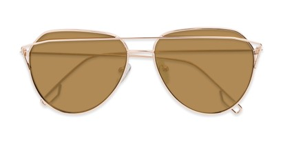 Folded of Kennedy #7024 in Gold Frame with Gold Mirrored Lenses