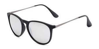 Angle of Kent #54096  in Black Frame with Silver Mirrored Lenses, Women's and Men's Round Sunglasses