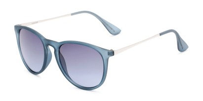 Angle of Kent #54096  in Blue Frame with Smoke Lenses, Women's and Men's Round Sunglasses