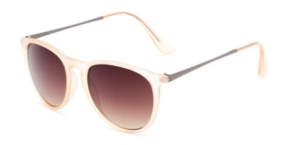 Angle of Kent #54096  in Orange Frame with Amber Lenses, Women's and Men's Round Sunglasses