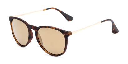 Angle of Kent #54096  in Tortoise Frame with Gold Mirrored Lenses, Women's and Men's Round Sunglasses