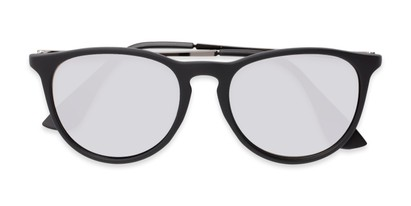 Folded of Kent #54096  in Black Frame with Silver Mirrored Lenses