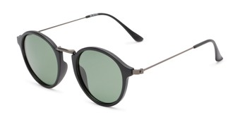 Angle of Legend #16171 in Matte Black Frame with Green Lenses, Women's and Men's Round Sunglasses