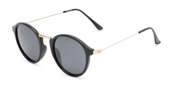 Angle of Legend #16171 in Glossy Black Frame with Grey Lenses, Women's and Men's Round Sunglasses