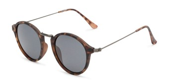 Angle of Legend #16171 in Matte Tortoise Frame with Grey Lenses, Women's and Men's Round Sunglasses