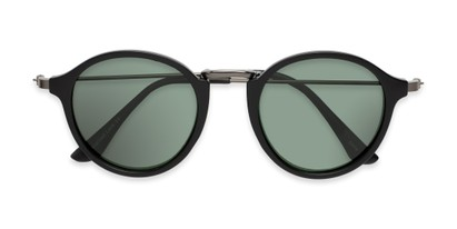 Folded of Legend #16171 in Matte Black Frame with Green Lenses
