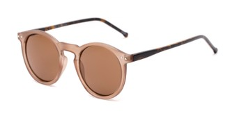 Angle of Lincoln in Brown Frost/Tortoise Frame with Brown Lenses, Women's and Men's Round Sunglasses