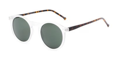 Angle of Lincoln #9939 in Clear Frost/Tortoise Frame with Green Lenses, Women's and Men's Round Sunglasses
