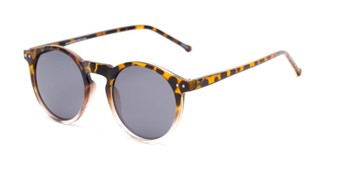 Angle of Lincoln in Tortoise/Clear Fade Frame with Smoke Lenses, Women's and Men's Round Sunglasses