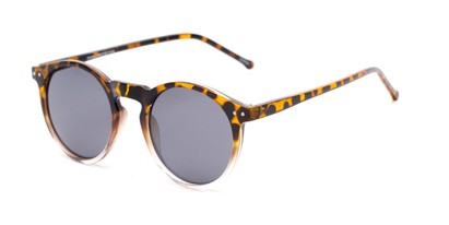 Angle of Lincoln #9939 in Tortoise/Clear Fade Frame with Smoke Lenses, Women's and Men's Round Sunglasses
