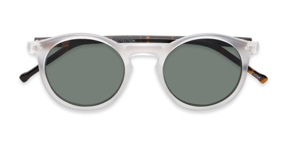 Folded of Lincoln #9939 in Clear Frost/Tortoise Frame with Green Lenses