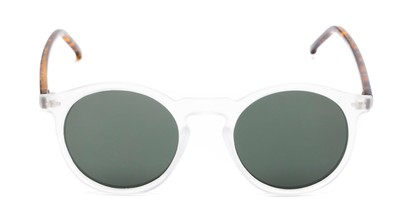 Front of Lincoln in Clear Frost/Tortoise Frame with Green Lenses