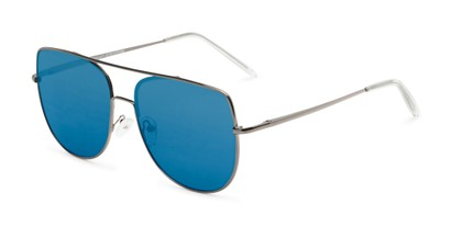 Angle of Liv #3137 in Grey Frame with Blue Mirrored Lenses, Women's Aviator Sunglasses