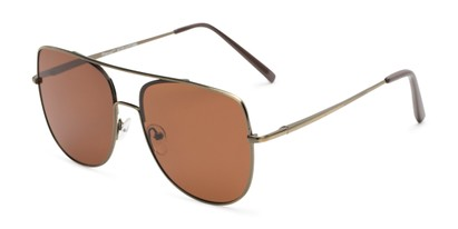 Angle of Liv #3137 in Dark Gold Frame with Amber Lenses, Women's Aviator Sunglasses