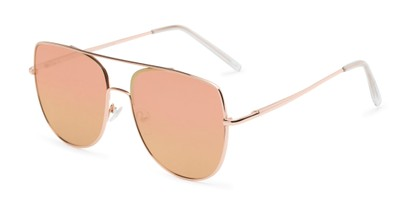 Angle of Liv #3137 in Rose Gold Frame with Pink Mirrored Lenses, Women's Aviator Sunglasses