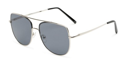 Angle of Liv #3137 in Silver Frame with Grey Lenses, Women's Aviator Sunglasses