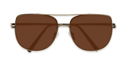 Folded of Liv #3137 in Dark Gold Frame with Amber Lenses