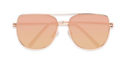 Folded of Liv #3137 in Rose Gold Frame with Pink Mirrored Lenses