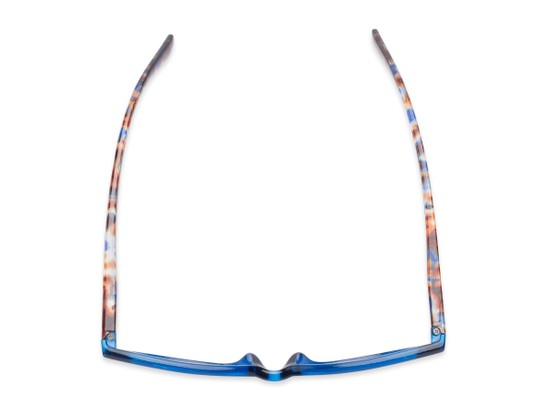 Overhead of Liv #3137 in Grey Frame with Blue Mirrored Lenses