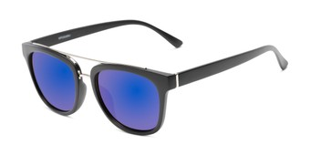 Angle of Lodge #50801 in Matte Black/Silver Frame with Purple Mirrored Lenses, Women's and Men's Retro Square Sunglasses