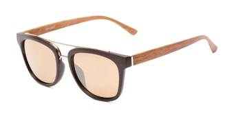 Angle of Lodge #50801 in Dark Brown/Gold Frame with Amber Lenses, Women's and Men's Retro Square Sunglasses