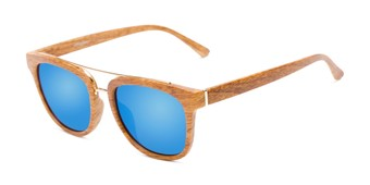 Angle of Lodge #50801 in Brown/Gold Frame with Blue Mirrored Lenses, Women's and Men's Retro Square Sunglasses