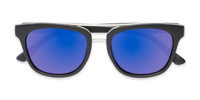 Folded of Lodge #50801 in Matte Black/Silver Frame with Purple Mirrored Lenses