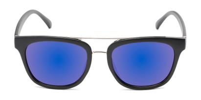 Front of Lodge #50801 in Matte Black/Silver Frame with Purple Mirrored Lenses