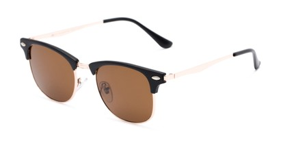 Angle of Logan #6767 in Black/Gold Frame with Amber Lenses, Women's and Men's Browline Sunglasses