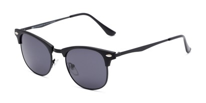 Angle of Logan #6767 in Black Frame with Grey Lenses, Women's and Men's Browline Sunglasses