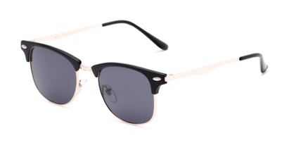 Angle of Logan #6767 in Black/Gold Frame with Grey Lenses, Women's and Men's Browline Sunglasses