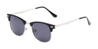 Angle of Logan #6767 in Black/Silver Frame with Grey Lenses, Women's and Men's Browline Sunglasses