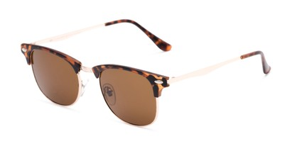 Angle of Logan #6767 in Tortoise/Gold Frame with Amber Lenses, Women's and Men's Browline Sunglasses
