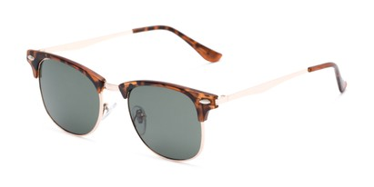 Angle of Logan #6767 in Tortoise/Gold Frame with Green Lenses, Women's and Men's Browline Sunglasses