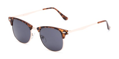 Angle of Logan #6767 in Tortoise/Gold Frame with Grey Lenses, Women's and Men's Browline Sunglasses